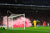 play is stopped due to a flair being thrown onto the pitch during the UFEA Nations League B match between Wales and Denmark at The Cardiff City Stadium in Cardiff, Wales, UK. Friday 16 November 2018