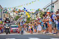 Kevin Ledanois (FRA/Team Fortuneo Samsic) leads the early break away group. <br /> <br /> Stage 1: Noirmoutier-en-l'Île > Fontenay-le-Comte (189km)<br /> <br /> Le Grand Départ 2018<br /> 105th Tour de France 2018<br /> ©kramon
