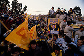 """Seoul, South Korea<br /> December 13 1987<br /> <br /> Kim Dea-jong, the opposition leader to the ruling party campaigning during the South Korean presidential elections in Seoul's Poramae Park. <br /> <br /> Kim Dae-jung (3 December 1925 to 18 August 2009) was President of South Korea from 1998 to 2003, and the 2000 Nobel Peace Prize recipient. As of this date Kim is the first and only Nobel laureate to hail from Korea. A Roman Catholic since 1957, he has been called the """"Nelson Mandela of Asia"""" for his long-standing opposition to authoritarian rule."""