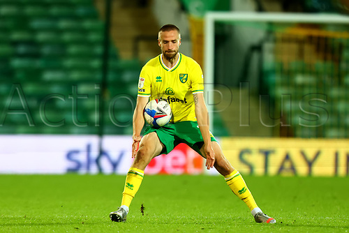 3rd November 2020; Carrow Road, Norwich, Norfolk, England, English Football League Championship Football, Norwich versus Millwall; Marco Stiepermann of Norwich City catches the ball in midrift