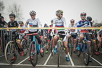 Katie Compton's (USA/KFCracing) pretty similar Pan-American Champion's jersey next to Thalita de Jong's (NED/Rabo-Liv) rainbow jersey on the start grid<br /> <br /> 2016 CX UCI World Cup Zeven (DEU)
