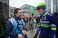 Former roomies/teammates (but now on opposites sides of the lens) Leon Van Bon (NLD) & Mathew Hayman (AUS/Orica-GreenEDGE) catch up for the first time after Leon saw Mathew win (cheering loudly from behind his camera) at the Roubaix Velodrome 2 weeks earlier.<br /> <br /> 102nd Liège-Bastogne-Liège 2016