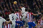 Real Madrid's Garet Bale Raphael Varane Atletico de Madrid's Tiago Mendes Diego Godin  during the match of La Liga between Atletico de Madrid and Real Madrid at Vicente Calderon Stadium  in Madrid , Spain. November 19, 2016. (ALTERPHOTOS/Rodrigo Jimenez)