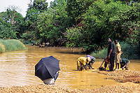 Tortiya, Ivory Coast (Cote d'Ivoire).  Overseer (under Umbrella) Watching Workers Sifting for Diamonds in a Small Streambed.