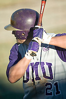 James Madison right fielder Kellen Kulbacki (21) waits for his turn at bat versus Charlotte at Fieldcrest Cannon Stadium in Kannapolis, NC, Friday, March 2, 2007.  The Charlotte 49'ers defeated the James Madison Dukes 16-7.