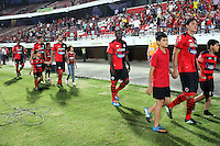 CUCUTA -COLOMBIA- 11-12--2013. Cucuta Deportivo ingresa al campo de juego antes de ser enviado a la segunda division por Fortaleza FC. Accion de juego  del  partido de vuelta entre los equipos Cucuta Deportivo y Fortaleza FC encuentro  correspondiente  a la promocion del futbol profesional colombiano ,  estadio General Santander  / Cucuta Deportivo enters the field before being sent to the second division for Fortaleza FC. Action of the second leg game between Cucuta Deportivo and equipment Fortaleza FC match corresponding to the promotion of the Colombian professional football, General Santander stadium.Photo: VizzorImage / Manuel Hernandez  / Stringer