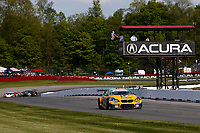 #96: Turner Motorsport BMW M6 GT3, GTD: Robby Foley, Bill Auberlen crosses the finish line under the checkered flag for the win