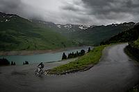 Amund Grøndahl Jansen (NOR/BikeExchange) descending the Col du Pré (HC/1748m) towards the Barrage de Roselend in, yet again, grim conditions.<br /> <br /> Stage 9 from Cluses to Tignes (145km)<br /> 108th Tour de France 2021 (2.UWT)<br /> <br /> ©kramon