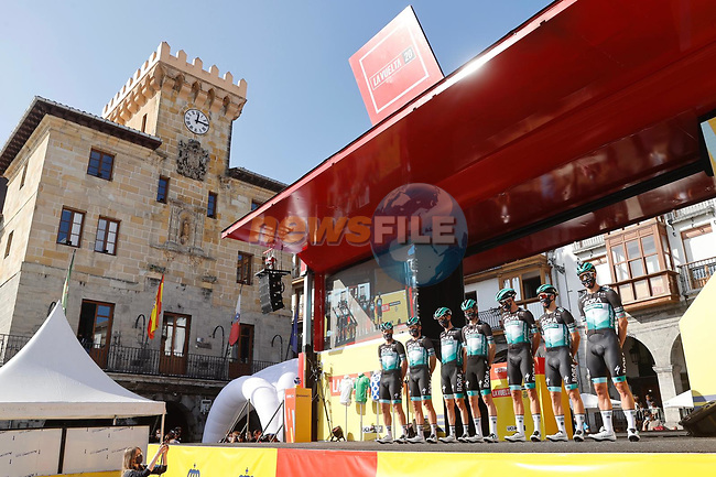 Bora-Hansgrohe leading team after yesterday's stage at sign on before the start of Stage 10 of the Vuelta Espana 2020 running 187.4km from Castro Urdiales to Suances, Spain. 30th October 2020.    <br /> Picture: Luis Angel Gomez/PhotoSportGomez | Cyclefile<br /> <br /> All photos usage must carry mandatory copyright credit (© Cyclefile | Luis Angel Gomez/PhotoSportGomez)