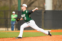 Charlotte 49ers relief pitcher Jordan Hudson (13) in action against the Virginia Commonwealth Rams at Robert and Mariam Hayes Stadium on March 30, 2013 in Charlotte, North Carolina.  The 49ers defeated the Rams 9-8 in game one of a double-header.  (Brian Westerholt/Four Seam Images)