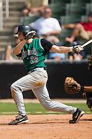 Augusta center fielder Michael McBryde (28) follows through on his swing versus Kannapolis at Fieldcrest Cannon Stadium in Kannapolis, NC, Monday, September 3, 2007.