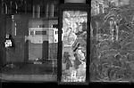 Closed down empty shop window 1970s London. 1976 UK