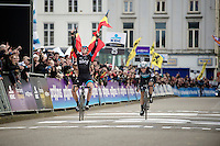 Ian Stannard (GBR/Sky) wins his 2nd consecutive Omloop title by beating Niki Terpstra (NLD/Etixx-QuickStep) in a sprint to the finish<br /> <br /> Omloop Het Nieuwsblad 2015