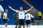 International Friendly match between Wales and Scotland at the new Cardiff City Stadium : Scotland's James McFadden puts his arms in the air in frustration.