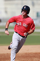 Boston Red Sox minor league infielder David Renfroe (16) during a game vs. the Minnesota Twins in an Instructional League game at Lee County Sports Complex in Fort Myers, Florida;  October 1, 2010.  Photo By Mike Janes/Four Seam Images