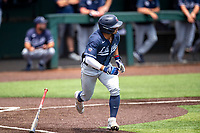 Liberty Flames shortstop Cam Locklear (18) hustles to first base against the Duke Blue Devils in NCAA Regional play on Robert M. Lindsay Field at Lindsey Nelson Stadium on June 4, 2021, in Knoxville, Tennessee. (Danny Parker/Four Seam Images)