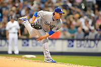 Los Angeles Dodgers pitcher Hyun-Jin Ryu #99 during a game against the Milwaukee Brewers at Miller Park on May 22, 2013 in Milwaukee, Wisconsin.  Los Angeles defeated Milwaukee 9-2.  (Mike Janes/Four Seam Images)