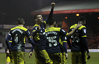 Marvin Johnson of Oxford United (C) celebrates scoring their third goal with team mates during the The Checkatrade Trophy Semi Final match between Luton Town and Oxford United at Kenilworth Road, Luton, England on 1 March 2017. Photo by Stewart  Wright  / PRiME Media Images.