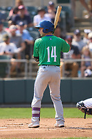 Hartford Yard Goats Max George (14) bats during a game against the Somerset Patriots on September 12, 2021 at TD Bank Ballpark in Bridgewater, New Jersey.  (Mike Janes/Four Seam Images)