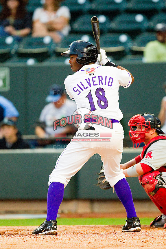 Juan Silverio #18 of the Winston-Salem Dash at bat against the Salem Red Sox at BB&T Ballpark on May 5, 2012 in Winston-Salem, North Carolina.  The Red Sox defeated the Dash 6-4.  (Brian Westerholt/Four Seam Images)