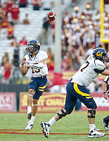 LOS ANGELES, CA - September 22, 2012:  Cal Bears quarterback Zach Maynard (15) during the USC Trojans vs the Cal Bears at the Los Angeles Memorial Coliseum in Los Angeles, CA. Final score USC 27, Cal 9..