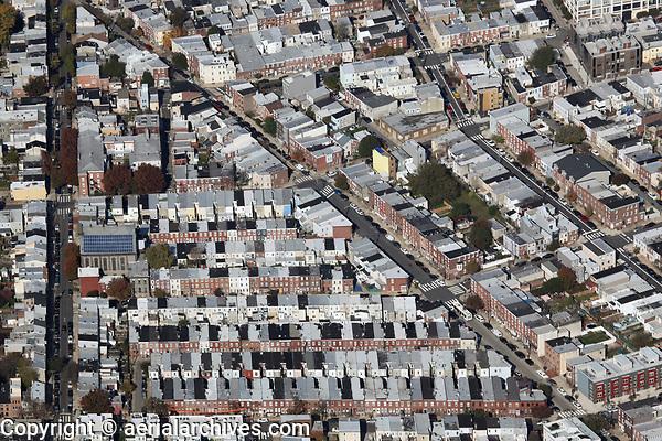 aerial photograph of row houses, Philadelphia, Pennsylvania