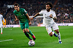 Marcelo Vieira of Real Madrid and Nacho Monreal of Real Sociedad during La Liga match between Real Madrid and Real Sociedad at Santiago Bernabeu Stadium in Madrid, Spain. February 06, 2020. (ALTERPHOTOS/A. Perez Meca)