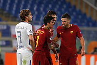Roma s Diego Perotti, second from left, celebrates with his teammates Federico Fazio, second from right, and Kevin Strootman, after scoring, as Chelsea s Marcos Alonso reacts, during the Champions League Group C soccer match between Roma and Chelsea at Rome's Olympic stadium, October 31, 2017.<br /> UPDATE IMAGES PRESS/Riccardo De Luca
