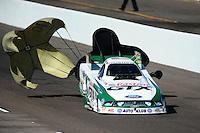 Oct. 15, 2011; Chandler, AZ, USA; NHRA funny car driver Mike Neff during qualifying at the Arizona Nationals at Firebird International Raceway. Mandatory Credit: Mark J. Rebilas-