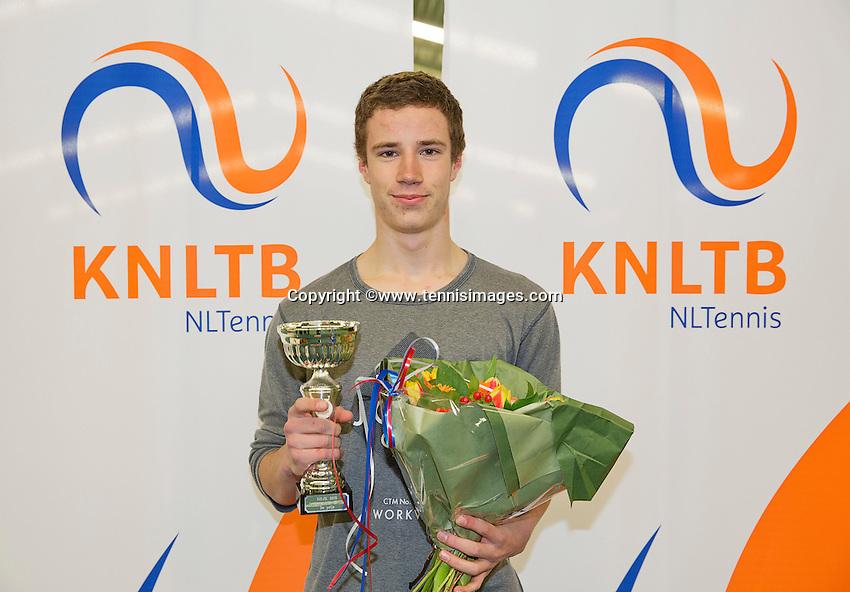 March 15, 2015, Netherlands, Rotterdam, TC Victoria, NOJK,  boys 18 years  runner up Maikel Borg<br /> <br /> Photo: Tennisimages/Henk Koster