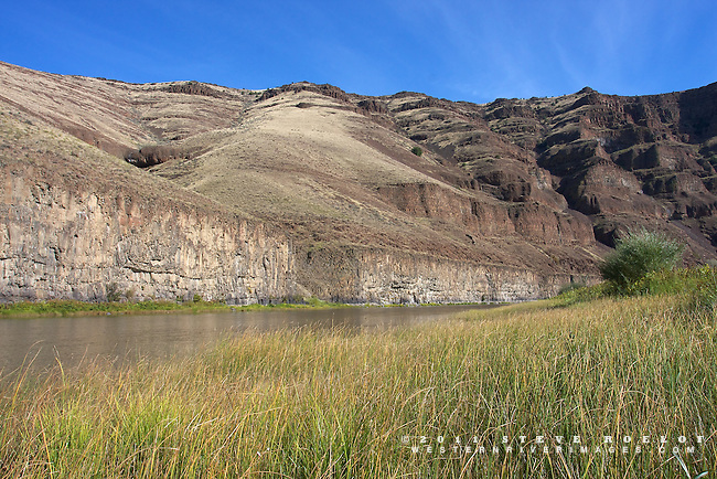 Cliffs, sedge, and blue sky on the John Day River.