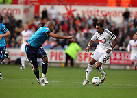 Pictured: Scott Sinclair of Swansea (R) against Steven Reid of West Bromwich Albion. Saturday 17 September 2011<br /> Re: Premiership football Swansea City FC v West Bromwich Albion at the Liberty Stadium, south Wales.