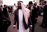 Sheik Zayed bin Sultan al Nahyan President of United Arab Emirates the Derby Horse race with his entourage Epsom England. 1980s 80s UK