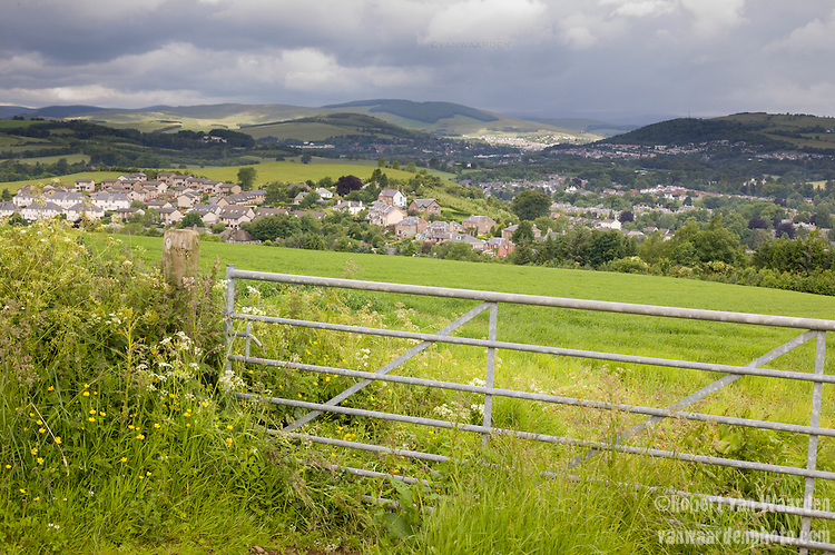 View of a village from the St Cuthbert's Way, a hiking trail in the Scotland in the United Kingdom.