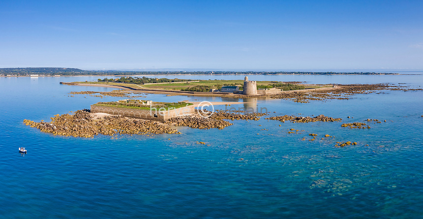 France, Manche, Cotentin, Val de Saire, Saint Vaast la Hougue, Tatihou Island with the Tour Vauban listed as World Heritage by UNESCO and the Fort de l'Ilet (aerial view) // France, Manche (50), Cotentin, Val de Saire, Saint-Vaast-la-Hougue, île de Tatihou avec la tour Vauban classée au patrimoine Mondial de l'UNESCO et le fort de l'ïlet (vue aérienne)