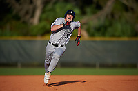 Northeastern Huskies left fielder Corey DiLoreto (10) running the bases during a game against the South Dakota State Jackrabbits on February 23, 2019 at North Charlotte Regional Park in Port Charlotte, Florida.  Northeastern defeated South Dakota State 12-9.  (Mike Janes/Four Seam Images)