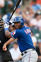 "Texas Rangers shortstop Elvis Andrus #1 prepares to come to the plate during the MLB exhibition baseball game against the ""AAA"" Round Rock Express on April 2, 2012 at the Dell Diamond in Round Rock, Texas. The Rangers out-slugged the Express 10-8. (Andrew Woolley / Four Seam Images)."