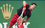SHANGHAI, CHINA - OCTOBER 15:  Novak Djokovic of Serbia serves to Guillermo Garcia-Lopez of Spain during day five of the 2010 Shanghai Rolex Masters at the Shanghai Qi Zhong Tennis Center on October 15, 2010 in Shanghai, China.  (Photo by Victor Fraile/The Power of Sport Images) *** Local Caption *** Novak Djokovic