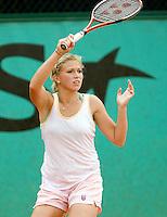 25-5-08, France,Paris, Tennis, Roland Garros, Michaella Krajicek werkt haar trainings partij af