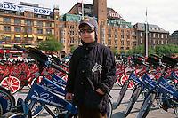 Daenemark, kostenlose Leihfahrräder auf dem Rathausplatz in Kopenhagen