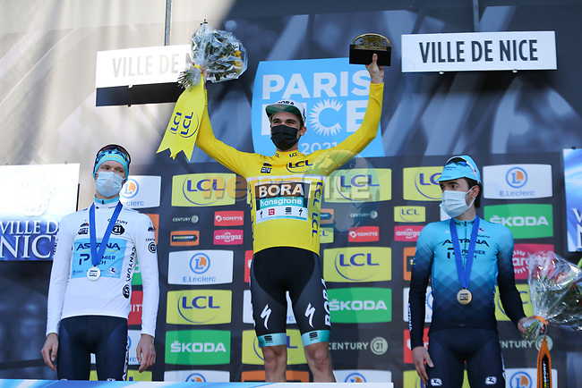 Maximilian Schachmann (GER) Bora-Hansgrohe wins Paris-Nice 2021, with Aleksandr Vlasov (RUS) Astana-Premier Tech in 2nd place and Ion Izagirre Insausti (ESP) Astana-Premier Tech 3rd, at the end of Stage 8 running 92.7km from Le Plan-du-Var to Levens, France. 14th March 2021.<br /> Picture: ASO/Fabien Boukla   Cyclefile<br /> <br /> All photos usage must carry mandatory copyright credit (© Cyclefile   ASO/Fabien Boukla)