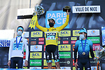 Maximilian Schachmann (GER) Bora-Hansgrohe wins Paris-Nice 2021, with Aleksandr Vlasov (RUS) Astana-Premier Tech in 2nd place and Ion Izagirre Insausti (ESP) Astana-Premier Tech 3rd, at the end of Stage 8 running 92.7km from Le Plan-du-Var to Levens, France. 14th March 2021.<br /> Picture: ASO/Fabien Boukla | Cyclefile<br /> <br /> All photos usage must carry mandatory copyright credit (© Cyclefile | ASO/Fabien Boukla)