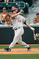 Catcher Tyler Ogle #35 of the Oklahoma Sooners swings against the Texas Longhorns in NCAA Big XII baseball on May 1, 2011 at Disch Falk Field in Austin, Texas. (Photo by Andrew Woolley / Four Seam Images)