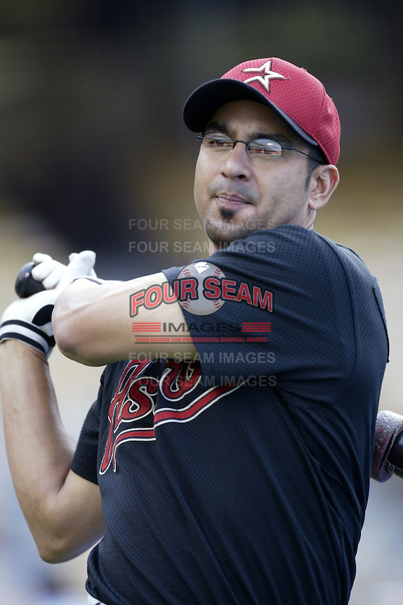 Orlando Merced of the Houston Astros before a 2002 MLB season game against the Los Angeles Dodgers at Dodger Stadium, in Los Angeles, California. (Larry Goren/Four Seam Images)