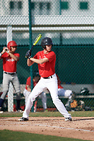 Ethan Tease (60), from Athens, Alabama, while playing for the Cardinals during the Baseball Factory Pirate City Christmas Camp & Tournament on December 30, 2017 at Pirate City in Bradenton, Florida.  (Mike Janes/Four Seam Images)