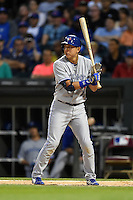 Toronto Blue Jays second baseman Munenori Kawasaki (66) at bat during a game against the Chicago White Sox on August 15, 2014 at U.S. Cellular Field in Chicago, Illinois.  Chicago defeated Toronto 11-5.  (Mike Janes/Four Seam Images)