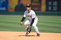 Charlotte Knights first baseman Tyler Saladino (8) on defense against the Indianapolis Indians at BB&T BallPark on June 21, 2015 in Charlotte, North Carolina.  The Knights defeated the Indians 13-1.  (Brian Westerholt/Four Seam Images)