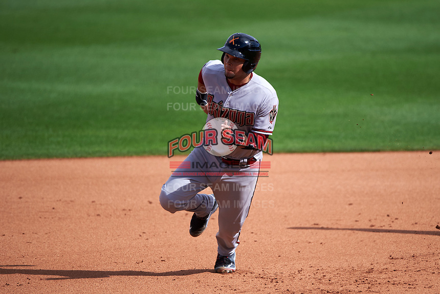 Salt River Rafters catcher Oscar Hernandez (25) running the bases during an Arizona Fall League game against the Surprise Saguaros on October 20, 2015 at Salt River Fields at Talking Stick in Scottsdale, Arizona.  Surprise defeated Salt River 3-1.  (Mike Janes/Four Seam Images)