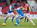 St Johnstone v Hamilton Accies…23.09.17…  McDiarmid Park… SPFL<br />Graham Cummins holds off Xavier Tomas<br />Picture by Graeme Hart. <br />Copyright Perthshire Picture Agency<br />Tel: 01738 623350  Mobile: 07990 594431