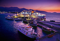 Cruise ship and harbor at dawn Ahgios Nikolaos Crete Greece